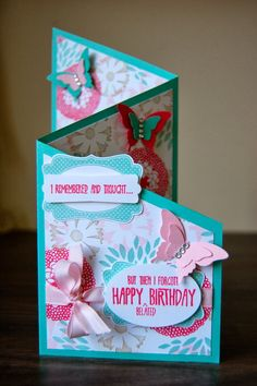 Julie Kettlewell - Stampin Up UK Independent Demonstrator - Order products Belated Birthday! Belated Birthday Card, Birthday Wishes Cards, Birthday Cards For Women, Handmade Birthday Cards, Tri Fold Cards, Fancy Fold Cards, Folded Cards, Thank You Greeting Cards, Greeting Cards Handmade