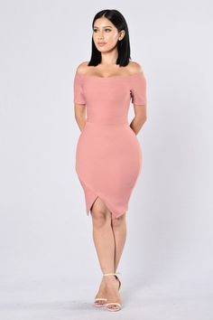 - Available in Olive and Mauve - Bandage Type Dress - Off Shoulder - 1/4 Sleeve - Midi Length - V Bottom Front Slit - Fitted - Made in USA - 96% Polyester 4% Spandex