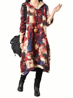 Sale 14% (39.17$) - Women Plus Size Casual Loose Hooded Color Cotton Linen Dress
