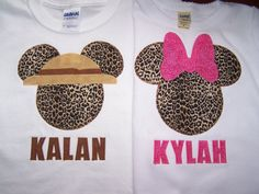 Cheetah Mickey and Minnie Mouse shirts perfect for Disney World's Animal Kingdom!