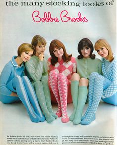 style tights, panty hose, stockings, knee high socks in bright colors and textured patterns. Add the mod style to your retro look. Mode Vintage, Vintage Ads, Vintage Dresses, Vintage Outfits, Pink Outfits, 60s And 70s Fashion, Mod Fashion, Vintage Fashion, Fashion Tights
