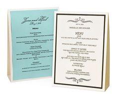 Wedding menu table tent