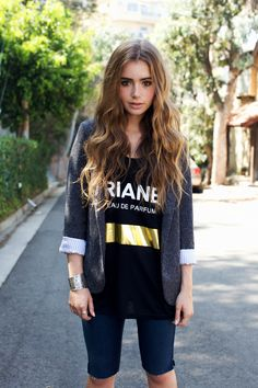 Lily Collins' hair - lightened, but not too much & still looks cool with her strong, dark brows.