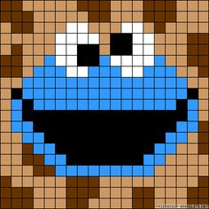 Cookie Monster Sesame Street perler bead pattern