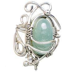 Natural Aquamarine 925 Sterling Silver Ring Size 7 RING818298