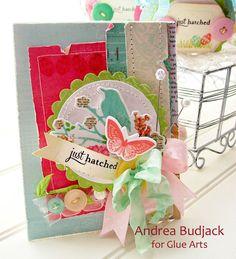 Bright and colorful card set using #GlueArts U Cut It foam from Designer @Andrea Budjack