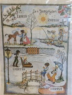 Vintage PAKO Handweken Crafts from Holland - Cross Stitch KIT - Wall Hanging:  The Four Seasons  - 45  x 60 cm - Gorgeous - Unused\Unworked by LousAtelier on Etsy