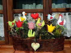 Karneval / Zboží prodejce kajrka   Fler.cz Easter Projects, Easter Crafts, Chicken Pattern, Chicken Crafts, Fabric Toys, Sewing Dolls, Spring Crafts, Xmas, Christmas