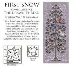 Cross Stitch first snow cross stitch pattern - The Drawn Thread has a nice little collection of free charts you'll want to check out, particularly for this time of year. There's a Santa and a Christmas-themed project or two and seve… Cross Stitch Bookmarks, Counted Cross Stitch Kits, Cross Stitch Embroidery, Embroidery Patterns, Hand Embroidery, Cross Stitch Designs, Cross Stitch Patterns, Cross Stitches, Drawn Thread