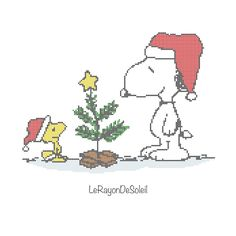 Cross stitch pattern Snoopy Woodstock winter snow christmas tree - Instant download PDF by LeRayonDeSoleil on Etsy https://www.etsy.com/uk/listing/483336158/cross-stitch-pattern-snoopy-woodstock