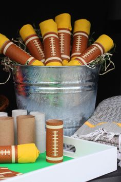 Box Play for Kids | DIY Bucket of Footballs | Party Favor (Pack of 10) $20  | $3 individual http://www.boxplayforkids.com/party-packs/