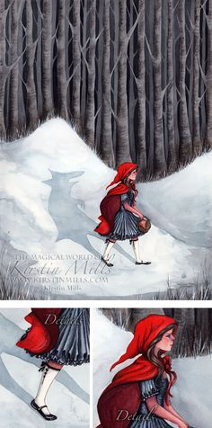 "Fairytale Fantasy Art - ""Wolf Within"" - a twisted take on the Red Riding Hood Fairytale - original watercolour artwork by Kirstin Mills"