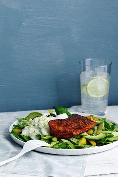 Keto Salmon Tandoori with Cucumber Sauce — Recipe — Diet Doctor Best Fish Recipes, Salmon Recipes, Seafood Recipes, Low Carb Recipes, Diet Recipes, Healthy Recipes, Indian Recipes, Lunch Recipes, Keto Salmon