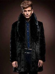 Schwarzes Fell Mantel Plus Größe Turndown Kragen mittellange Faux Pelz Winter für Männer