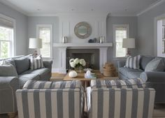 the hoe is a gray shingle style home with a gray and white theme. Lynn used lots of stripes, bleached and pale furniture and white lacquer beadboard throughout to create a serene elegantly casual family home.    Love the use of grey here and the bold stripes.  These spaces work for me.  Preppy, beachy, traditional with a tiny tiny hint of modern thrown in.  Nicely designed indeed!