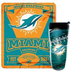 Miami Dolphins Travel Mug and Throw Blanket Gift Set