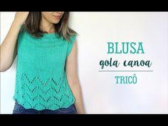 BLUSA GOLA CANOA COM PONTO CHEVRON | TRICÔ - YouTube