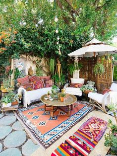 Layer in outdoor rugs!