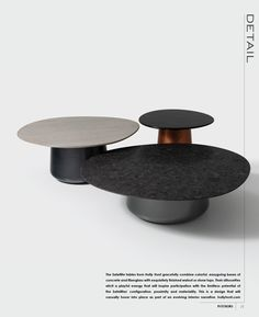 The Satellites gracefully combine colorful easygoing bases of concrete and fiberglass with exquisitely finished walnut or stone tops. Featured here in these silhouettes elicit a playful energy with limitless potential. Coffe Table, Coffee Table Design, Modern Coffee Tables, Modern Table, Design Furniture, Metal Furniture, Table Furniture, Modern Furniture, Design Creation