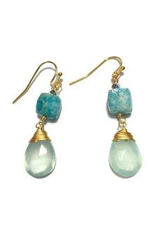 """Faceted stone cube with a dangling gold wire wrapped stone teardrop. Gold plated French ear wires. Choose from amazonite with chalcedony, lapis with lapis, lapis with smoky quartz, and rhodonite with carnelian.    Measures: 1.75""""   Handcrafted Stone Earrings by Light Years Collection. Accessories - Jewelry - Earrings Chapel Hill, North Carolina"""