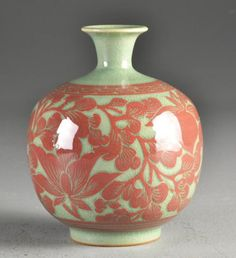"Unusual Korean Iron Red Over Celadon Pocelain Vase Of globular form having flared rim, with iron red floral desgin over celadon ground with all over crazing, bears two character mark in black under glaze, measures 6""H, circa 20th century."