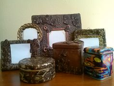Mirrors and boxes covered in polymer clay. I'm on facebook as BUNCHACRAFTS :)