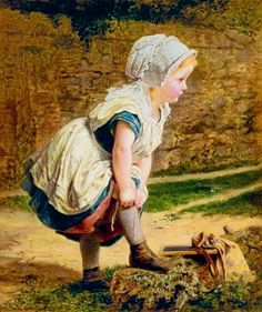 Wait for Me! or Returning Home from School, 1903, oil on canvas by Sophie Gengembre Anderson, 1823-1903, French-born British artist.