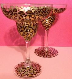 Hand Painted Leopard Print Margarita Glasses. $21.00, via Etsy.