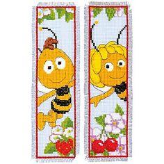 """Lesezeichen """"Biene Maja"""" im 2er-Set, zum Besticken in Kreuzstich. Komplettpackung mit Arbeitsanleitung, Zählvorlage, Garn und Sticknadel. Stofffarbe: hellblau, Größe: 6 x 20 cm, Material: Aida-Stoff und Garn 100 % Baumwolle (ca. 5,4 Stiche/cm)."""