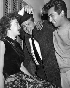 Natalie Wood, James Dean, and Perry Lopez on the set of 'Rebel Without a Cause, 1955.