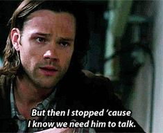 """""""But then I stopped 'cause I know we need him to talk."""" - Dean  #SPN  9.18  Meta Fiction  ...the concern on Sam's face..."""