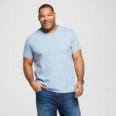 Men's Big & Tall V-Neck Jersey T-Shirt Blue 4XB Tall - Merona