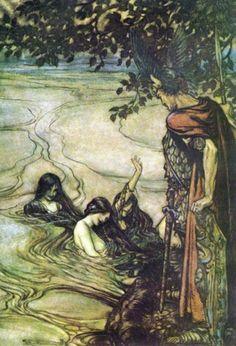 """absinthine:  Arthur Rackham, """"Rhinemaidenswarn Siegfried""""."""