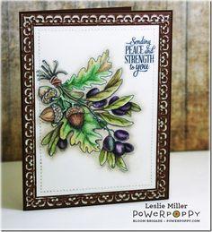 Olive and Oak Digital Stamp Set by Power Poppy, Card Design by Leslie Miller.