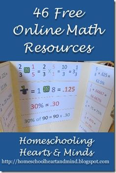 46 Free Online Math Resources for your homeschool!  Includes full curricula, games, worksheets, printables, and more!