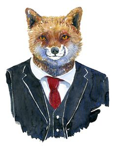 Mr. Fox - watercolor painting of a fix in suit. Artwork by Frits Ahlefeldt. #fox #animal #watercolour #suit #menstyle