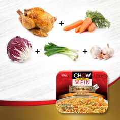 What do you get when you add NOMtastic noodles and chicken flavor with carrots, onion and more? Chow Mein Chicken Flavor, of course!   Chow Mein, a restaurant-quality dish without reservations.