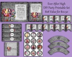Ever After High Party Pack  DIY Print  Invitation by LalaHeaven, $22.50