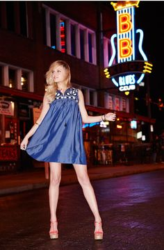 Who better than rising country star Kelsea Ballerini to take us on a spin through the music-filled streets of Memphis, Tennessee. Of course, no trip to Blues City is complete without a walk down Beale Street. And Kelsea's outfit of choice? An adorable embroidered dress from Cece by Cynthia Steffe at Macy's.