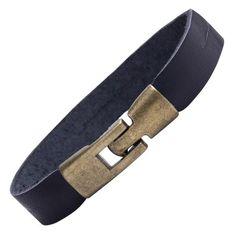R&B Bijoux - Bracelet Homme - Manchette Simple & Fermoir Solide Style Vintage - Cuir & Métal (Noir, Or): Amazon.fr: Bijoux
