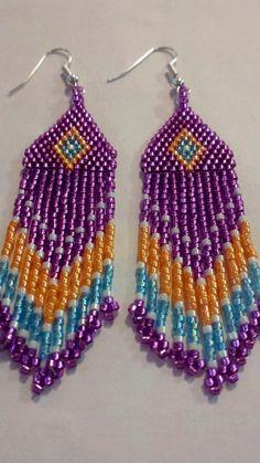 Native American Beaded Dangle Earrings. Purple by creechowan, $25.00