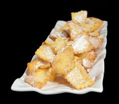 Italian Chiacchiere {Crostoli}, crispy deep fried sweet pastry dusted with confectioners' sugar from Grace's Sweet Life http://gracessweetlife.com