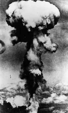 The infamous mushroom cloud, an after effect of an atomic explosion over land… This was the first time the atom bomb was used in warfare. The bomb over Hiroshima more or less put an end to the Second World War. Here, the mushroom cloud as seen over Hiroshima Aug 6, 1945. The image is remembered even today, as a terrifying beauty that the world never wants to see again.