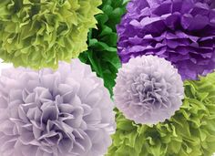 12 Tissue Paper Pom poms Set of 4 LARGE and 4 by PomPomsforParties