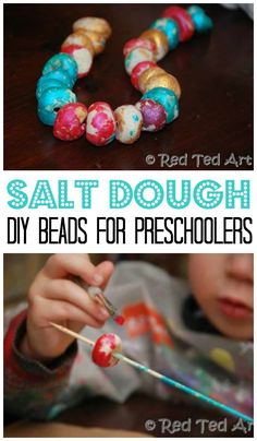 Salt Dough Recipe - Great for Bead Making Salt Dough Beads for Kids. We love working with salt dough, it is inexpensive and versatile. Here we show you how to make Salt to Beads with preschoolers. Great to wear, great as gifts and also counting activities Easy Art For Kids, Crafts For Kids To Make, Gifts For Kids, Kids Crafts, Clay Crafts, Toddler Crafts, Preschool Crafts, Salt Dough Jewelry, Salt Dough Crafts