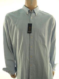 CLUB ROOM NEW MENS $54.00 BLUE Big & Tall BUTTON DRESS SHIRT sz XLT XL #ClubRoom #ButtonFront