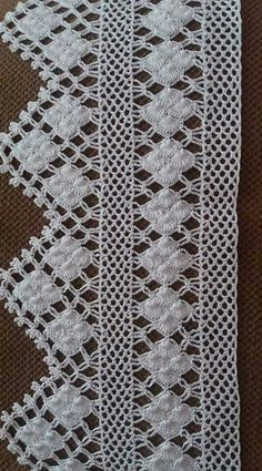 Crochet lace edging with point Crochet Lace Edging, Crochet Motifs, Crochet Borders, Crochet Poncho, Crochet Trim, Filet Crochet, Irish Crochet, Crochet Doilies, Crochet Flowers