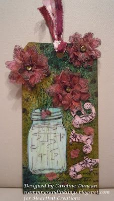 Tattered Crinoline Blossoms Tag designed by Caroline Duncan ~ stampingsandinklings.blogspot.com Heartfelt Creations