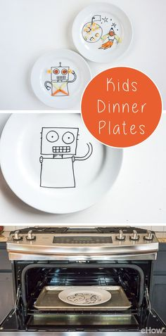Surprise your kids with custom, hand-drawn dinner plates. Use your imagination to create a design that your kids will love. And what a lovely sentimental piece to have for years! Veggies never looked this good! http://www.ehow.com/how_7838023_paint-plate-kids.html?utm_source=pinterest.com&utm_medium=referral&utm_content=freestyle&utm_campaign=fanpage