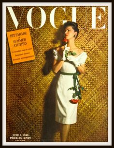 1943 Vogue Magazine Front Cover from June 1, 1943. Vintage Vogue cover. Vintage clothing ad. Vintage Fashion ad. Vogue Magazine Front Cover.